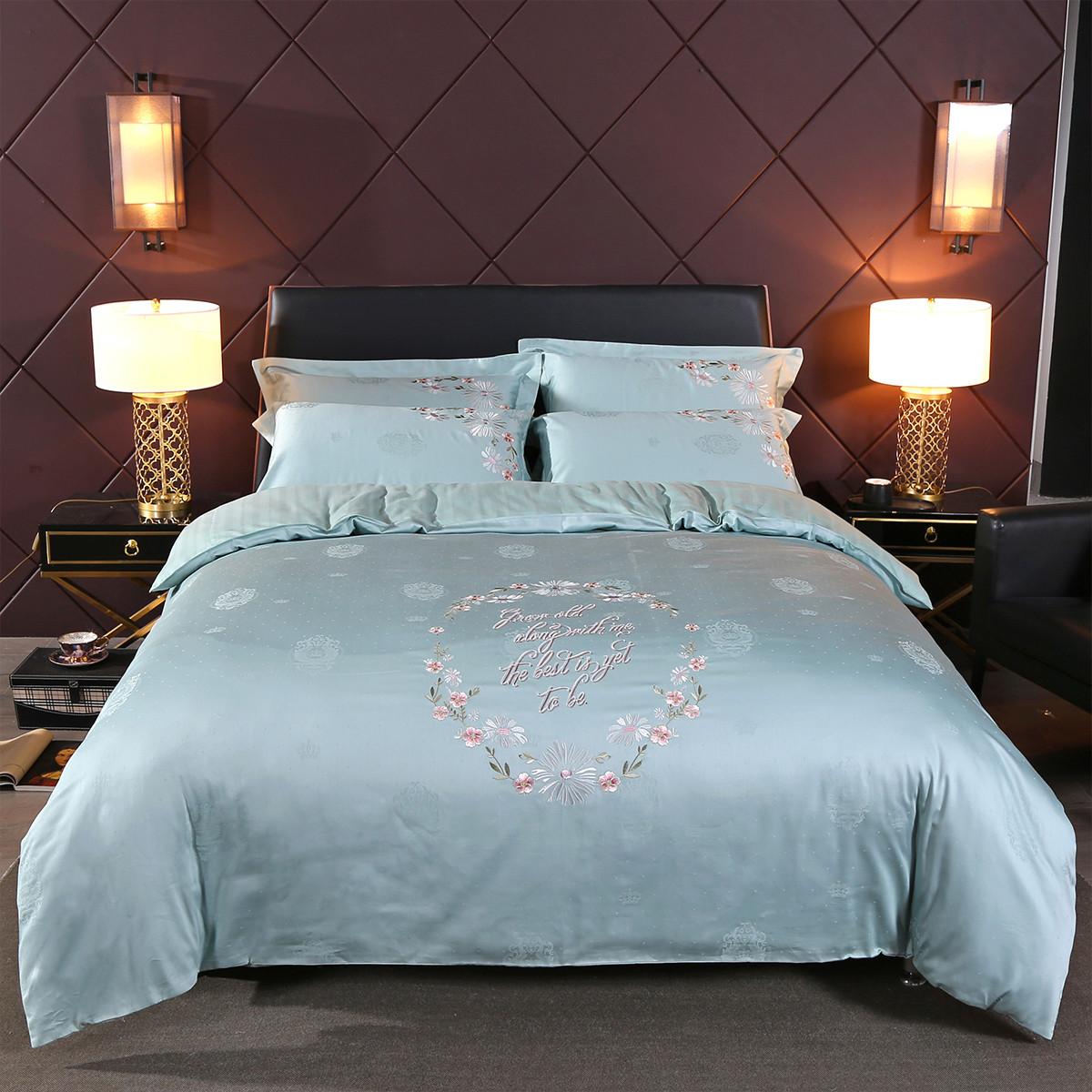 Ramada简约纯色绣花提花贡缎被套床单秋冬保暖全棉床上用品纯棉四件套BS171048L