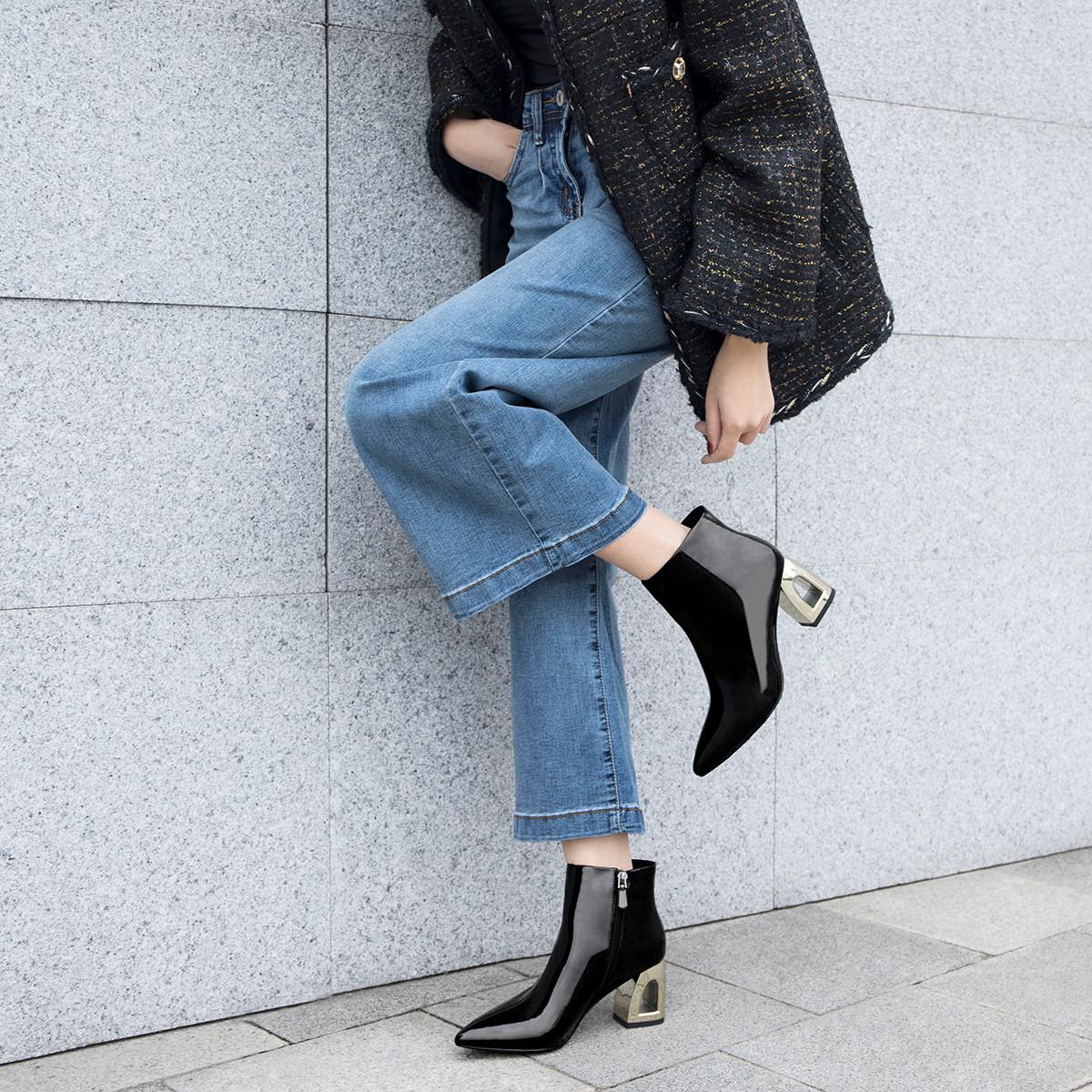 冷彤女短靴子2019冬新款漆皮尖头镂空跟薄绒短靴女靴百搭切尔西靴R8DBRL0233BK