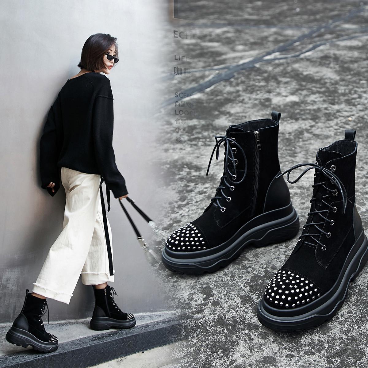 白鳕儿19年冬季新款牛反绒厚底内增高铆钉休闲马丁靴时尚潮街头女短靴X19T9496HR