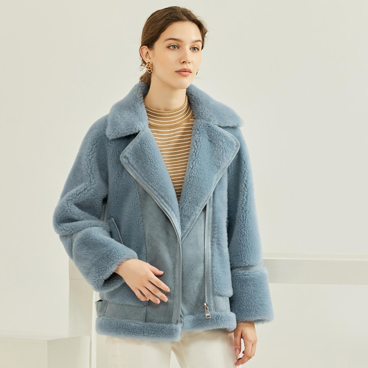波斯雷顿新款时尚颗粒羊毛短款单排扣羊剪绒皮草女外套2004319