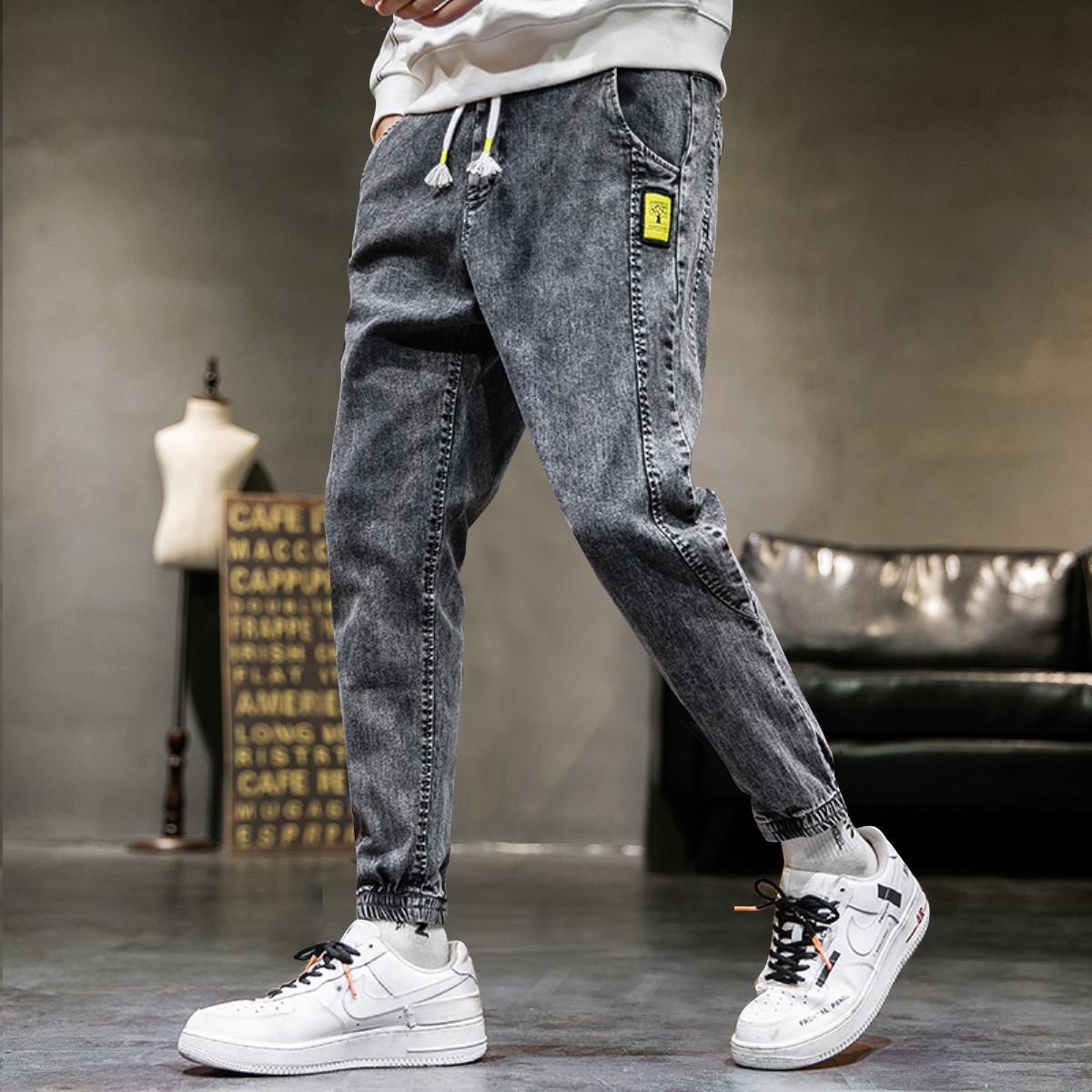 希尼亚男牛仔裤情侣春夏小脚牛仔裤修身牛仔裤子韩版潮流牛仔裤XB1935125N10