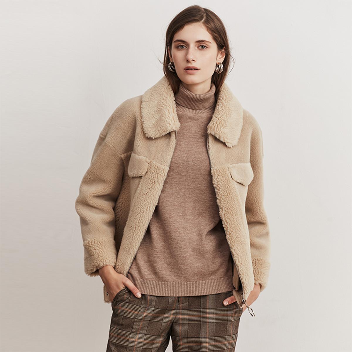 兽王秋冬新款女士复合皮毛一体外套颗粒羊毛翻领拉链保暖羊剪绒大衣190225701671