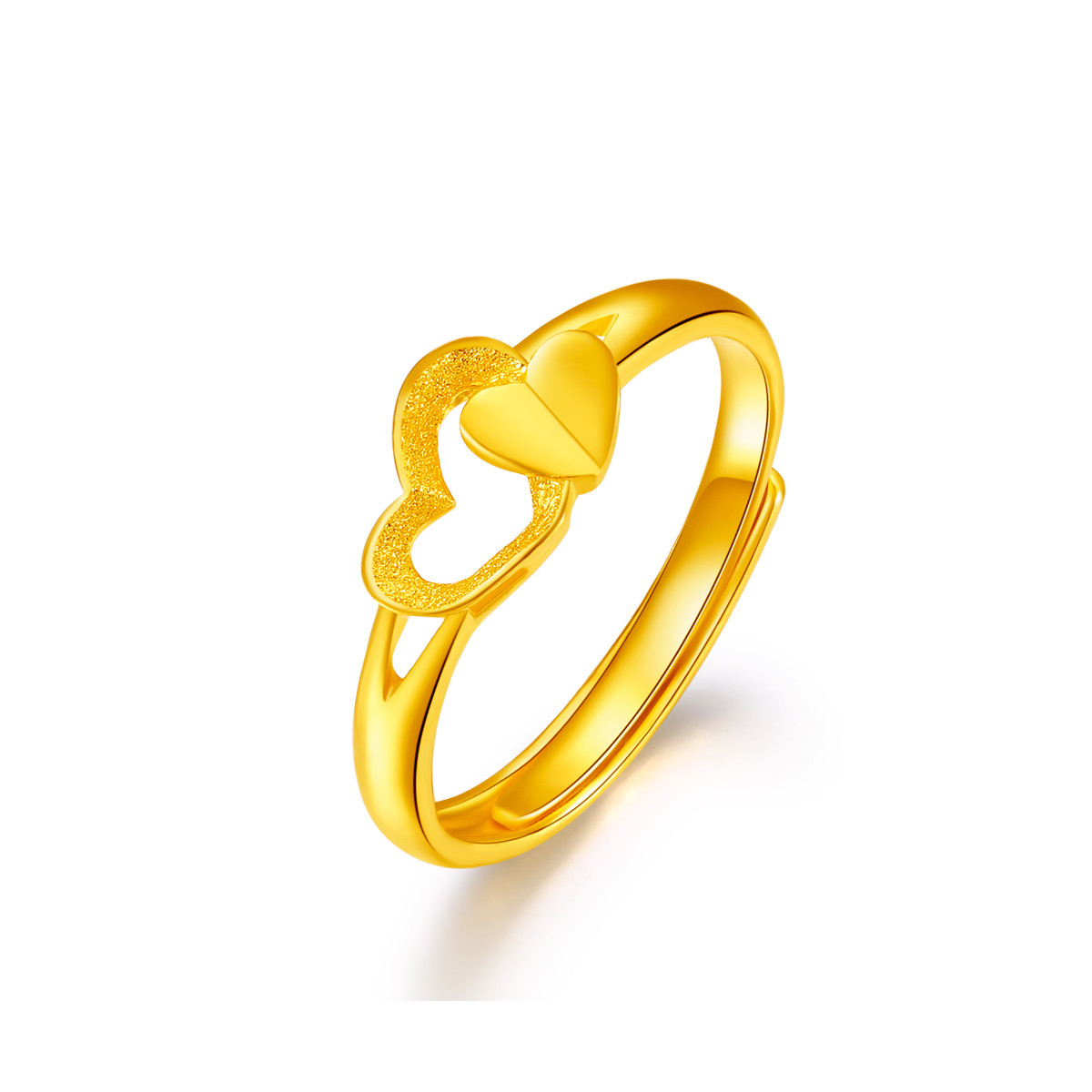 梦金园万纯系列足金相知相爱黄金戒指女士食指戒活口/计价MHWJZ0900383