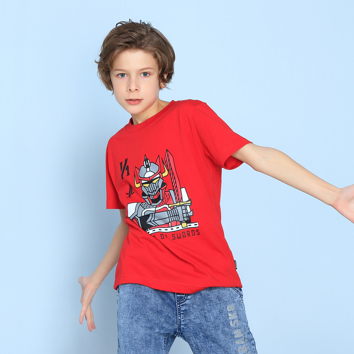bossini kids堡狮龙童装19春装新款男童剑客印花宝宝短袖儿童t恤43080301025