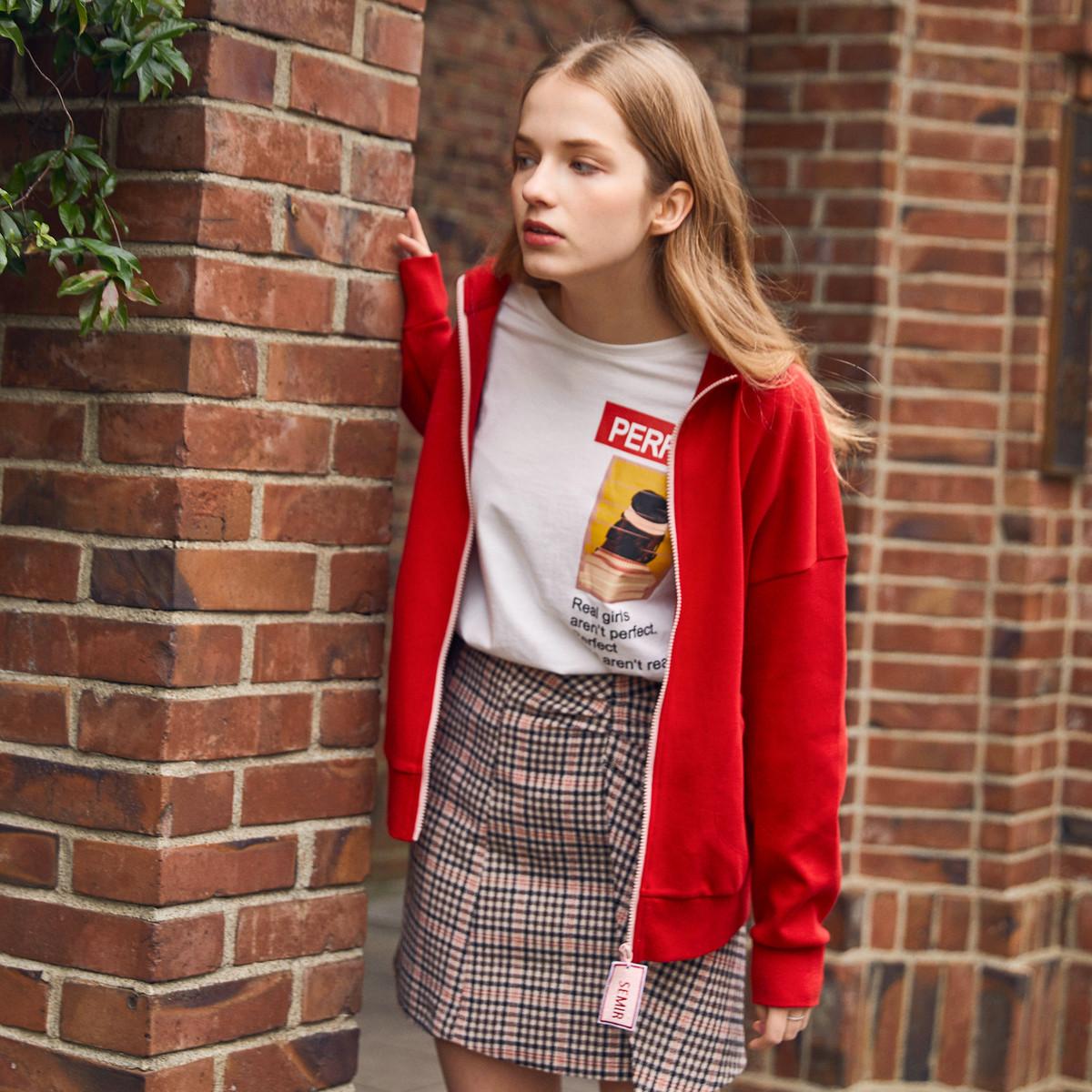 【撞色刺绣】森马女装2019春装新款宽松立领撞色女夹克外套女图片