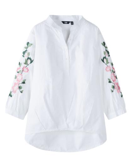 森马2019春季新款衬衣学生小清新刺绣v领长袖衬衫女图片
