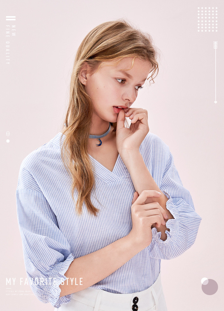 【棉麻条纹中袖衬衣】森马2019新款小清新v领喇叭袖女衬衫女图片