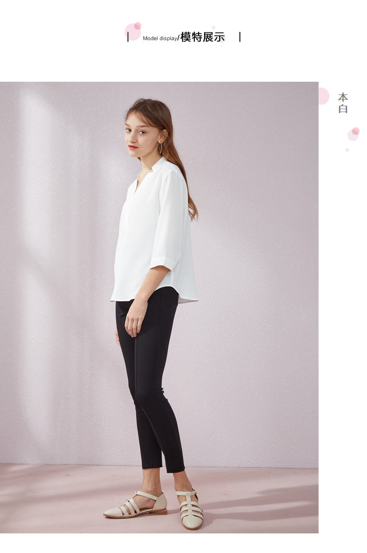 【热销】森马女装2019夏季新款纯色显瘦雪纺衬衫衬衣女图片