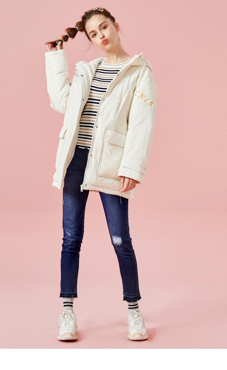 森马2018冬季新款宽松显瘦中长款保暖外套连帽潮流刺绣少女羽绒服女图片