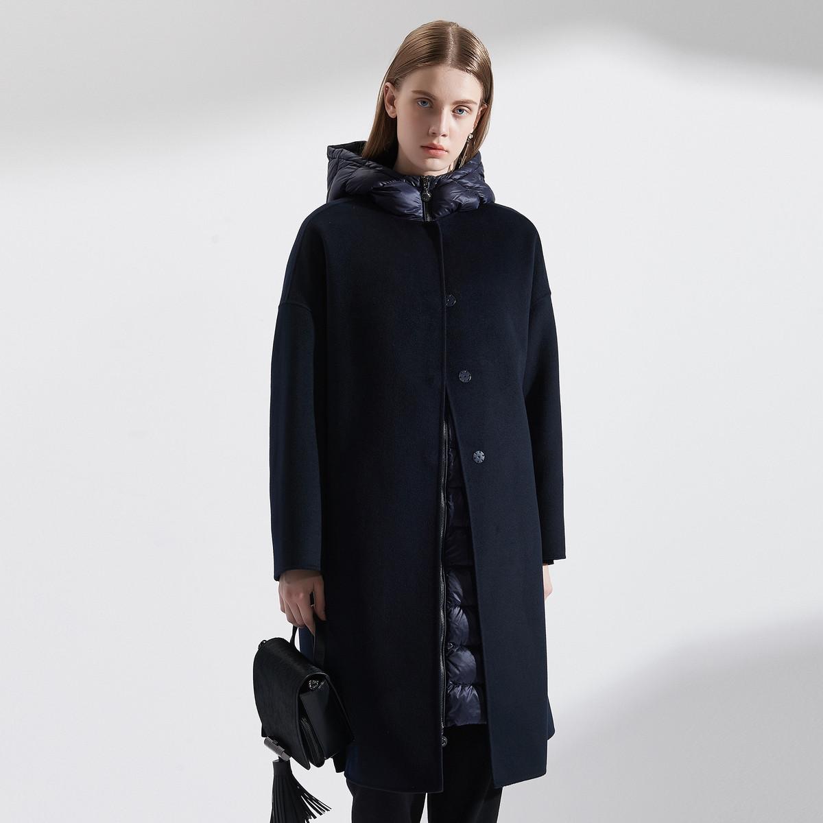 卓雅周末卓雅周末羽绒拼接毛呢两件套大衣EJW8DS043300