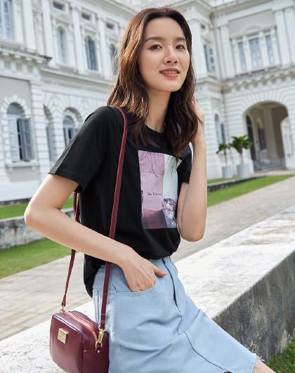 【谢欣明星同款】2019夏装新款 女士风景印花圆领短袖t恤