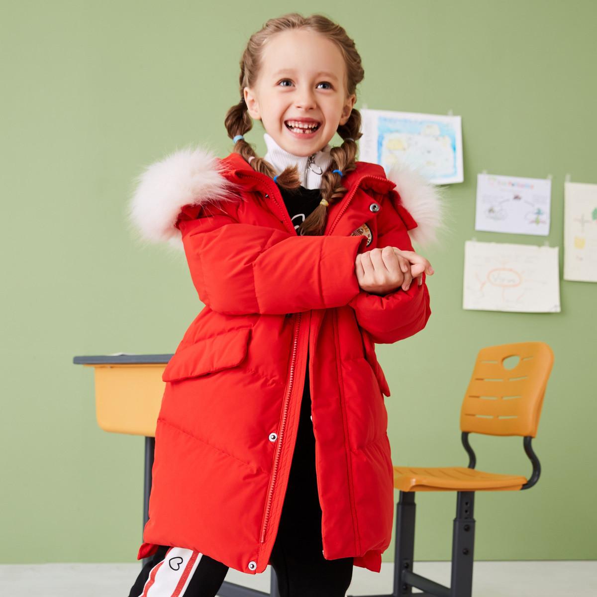 高梵2019毛领保暖秋冬新款纯色中长款儿童羽绒服女童白鸭绒G3190133802