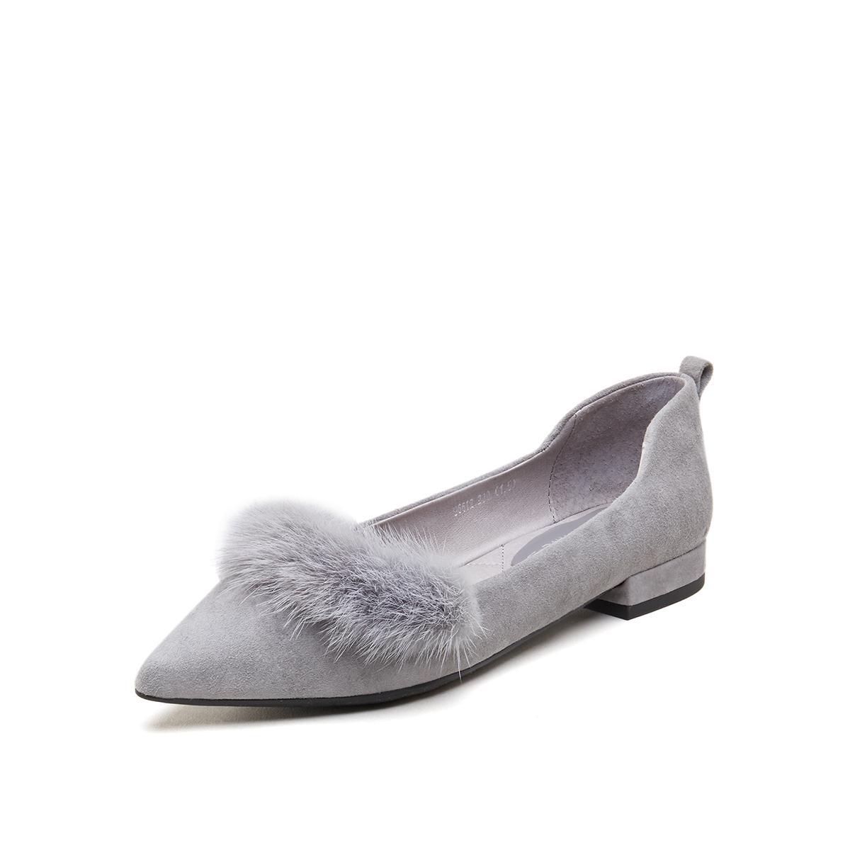 妙丽妙丽专柜同灰色羊皮时尚简约通勤低跟女单鞋LKG96612DP1CQ8