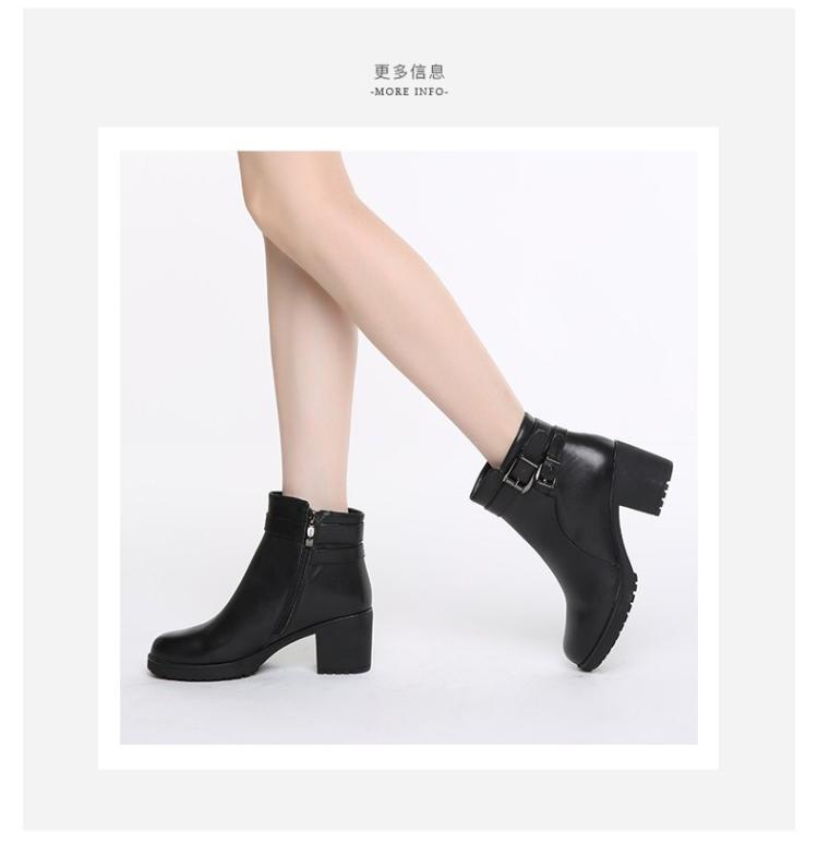森达senda女鞋专场 森达冬季专柜同款气质女短靴粗高跟皮带扣黑色图片