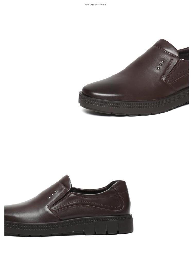 森达冬季专柜同款时尚经典舒适牛皮商务正装男鞋啡色