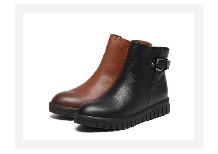 森达senda女鞋专场 森达专柜同款甜美女皮短靴圆头皮带扣时装靴黑色图片