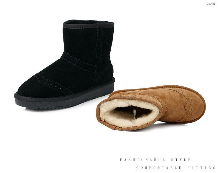 森达花纹绒里女短靴甜美厚底雪地靴驼色(毛里)