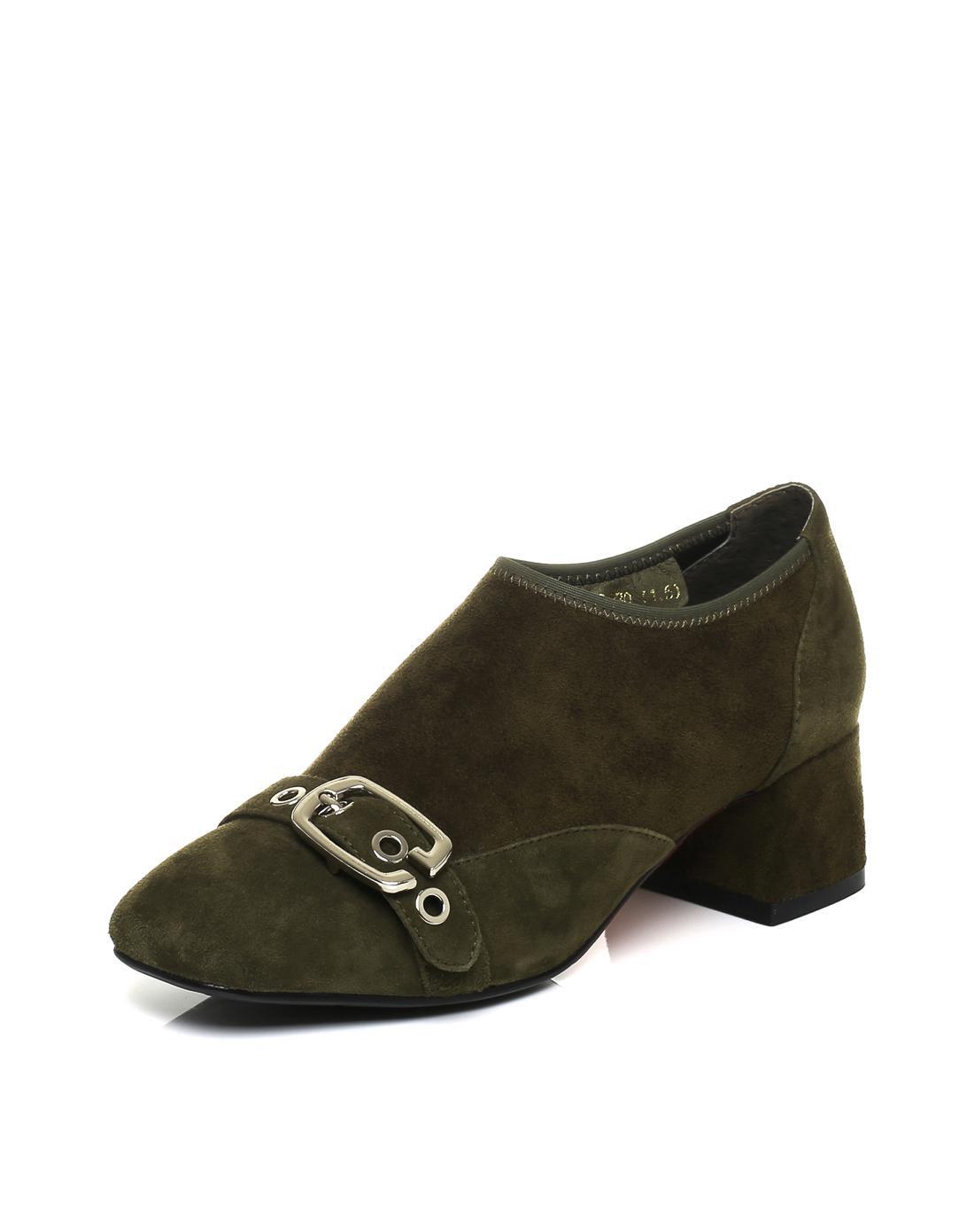 百丽2017秋新款复古羊绒皮粗跟深口女单鞋BF274508DN1CM7