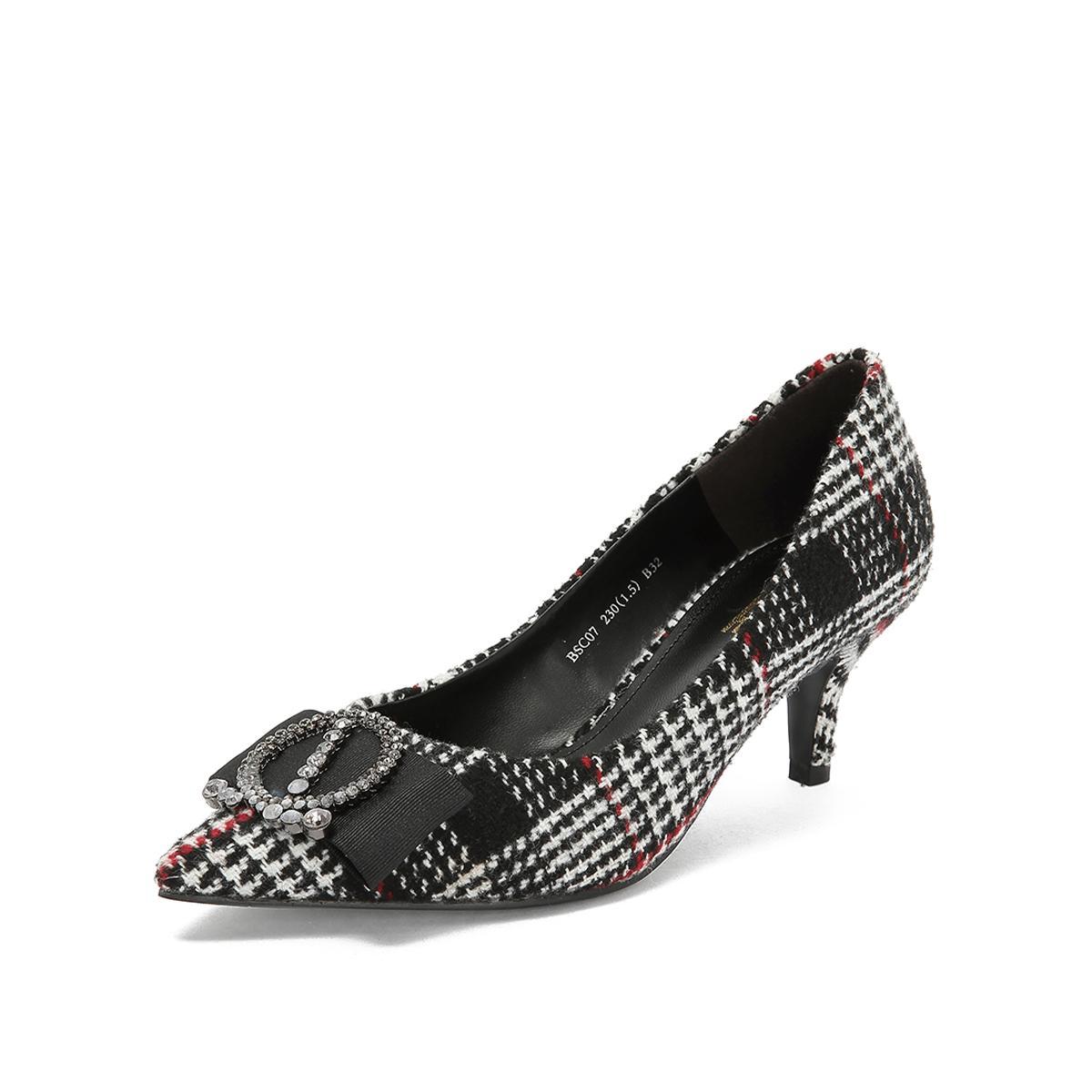 百丽百丽商场同款格子毛线布高跟女单鞋黑白/黑BBLBSC07DU2CQ8黑白/黑