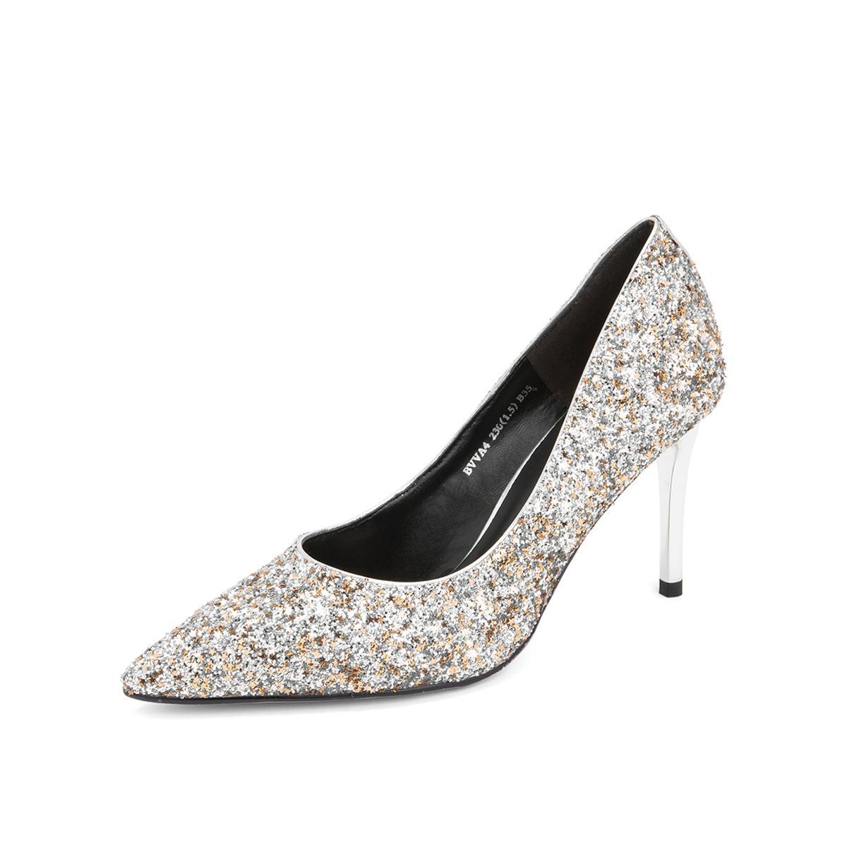 百丽百丽女鞋2019新商场同款仙女亮片布细高跟单鞋结婚鞋BBLBVVA4DB1AQ9