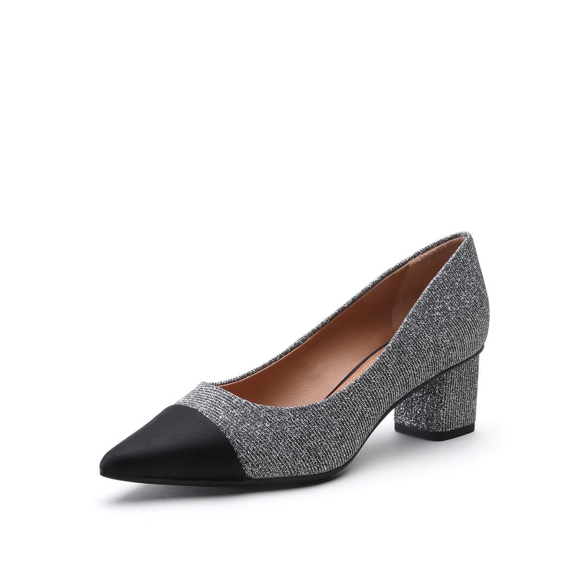 思加图思加图专柜同款羊皮布拼接时尚通勤尖头粗跟女浅口单鞋SZP9YD78DB1CQ8