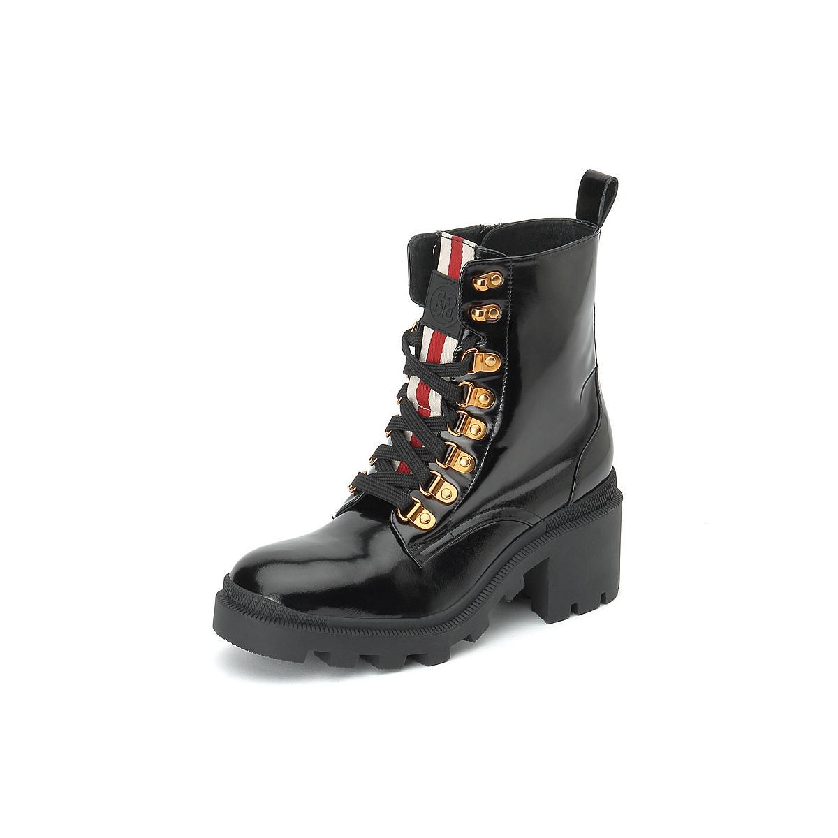 思加图思加图2019冬季新款时尚系带侧拉链粗高跟牛皮短靴女皮靴9IJ01DD9SZP9IJ01DU1DD9