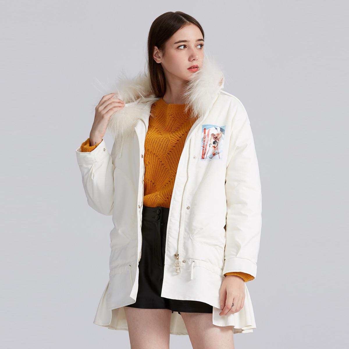 FIVE PLUSFive Plus女冬装毛领连帽夹棉外套女中长款棉服宽松长袖开襟2GA4044440010