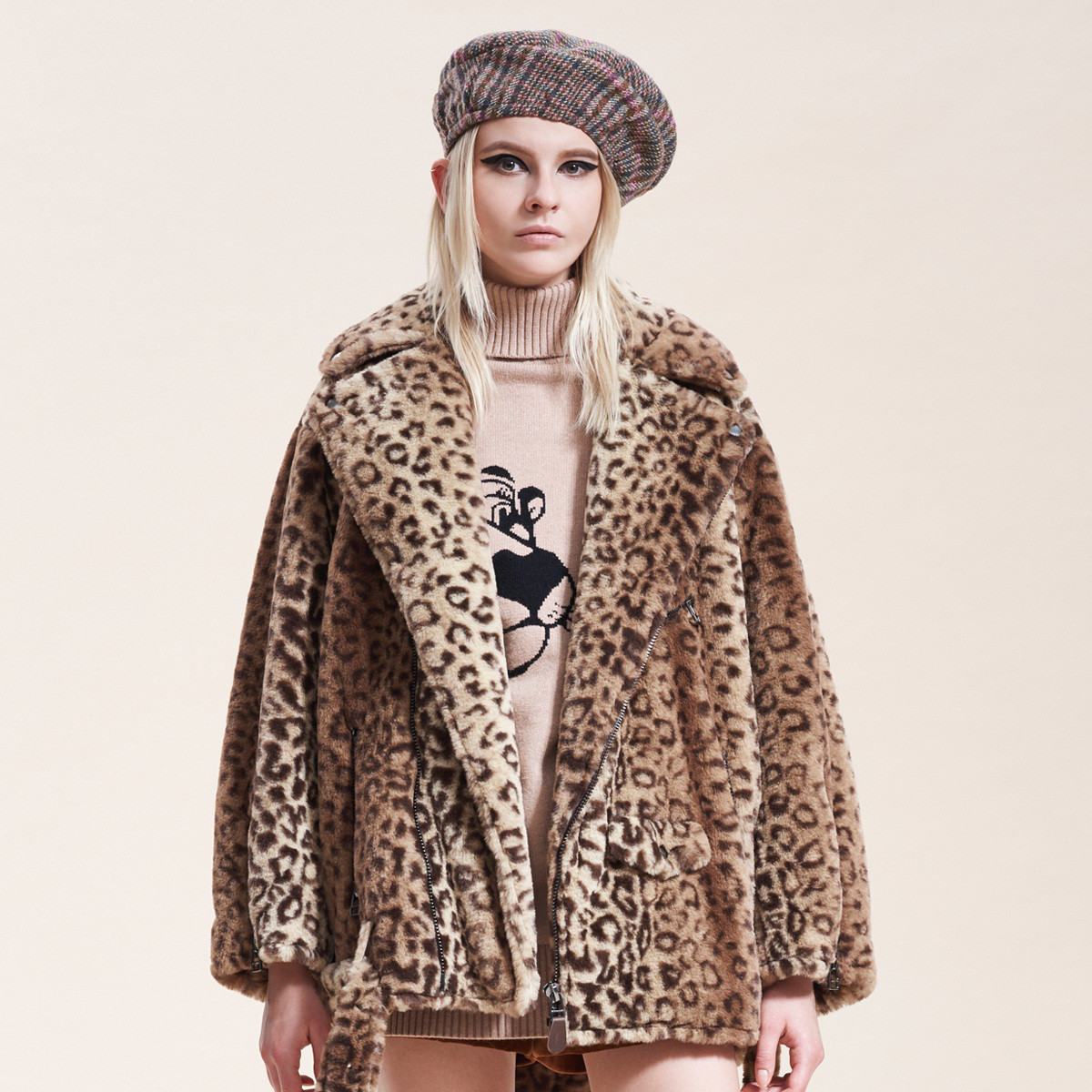 FIVE PLUSFive Plus女冬装豹纹外套女中长仿皮草毛绒夹克宽松长袖翻领2GN4044050810