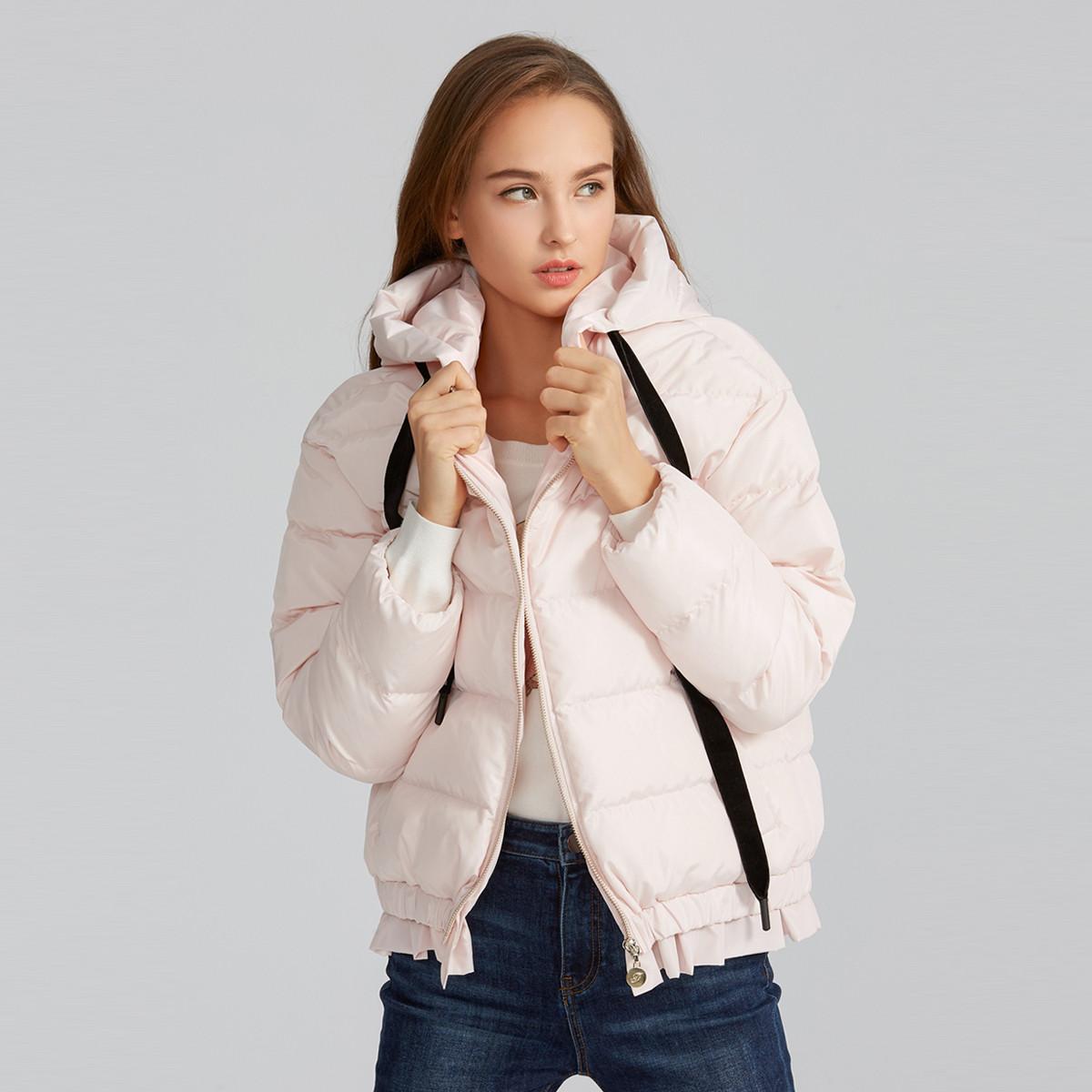 FIVE PLUSFive Plus2019新款女春装连帽夹棉外套女宽松棉服荷叶边长袖chic2ZN1040060180