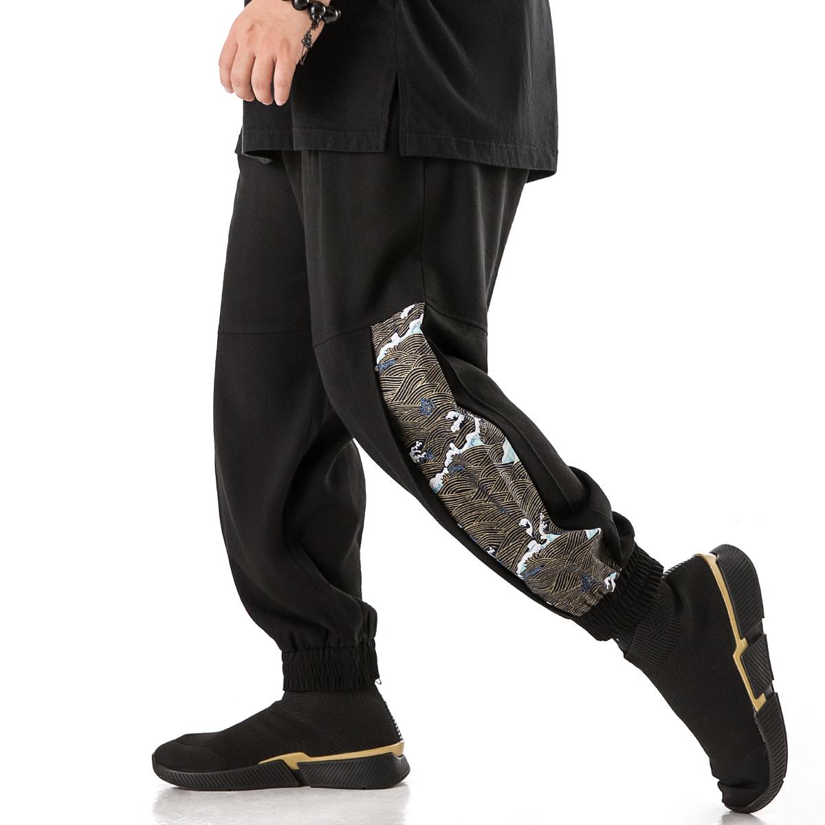 Jsmix2020春款大码男装宽松系绳撞色九分休闲裤男个性印花束脚裤01JK2629黑色