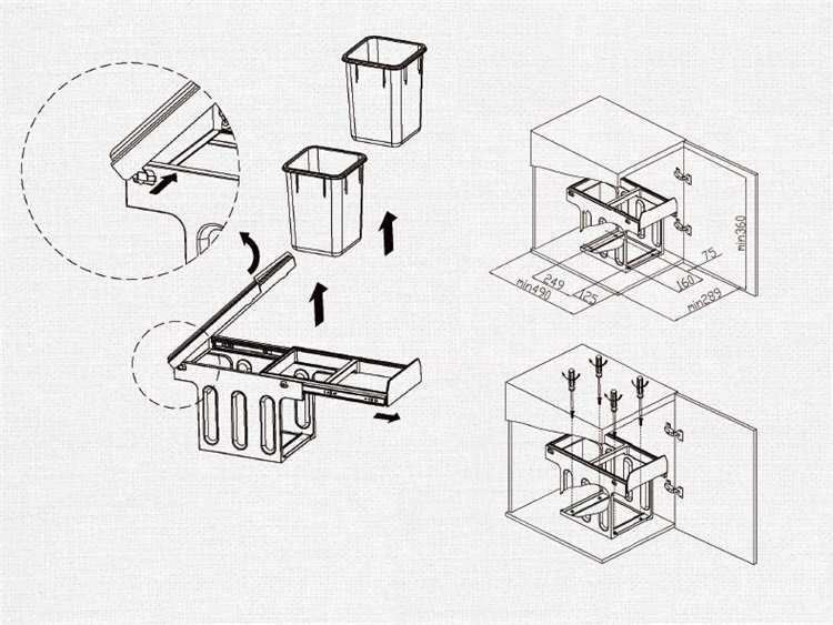 欧琳lsn312厨房橱柜垃圾桶隐藏式收纳桶分类垃圾桶