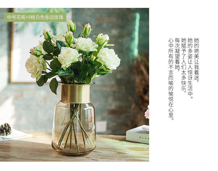 欧式轻奢玻璃花瓶插花干花水培花器仿真花艺套装客厅家居装饰品摆件