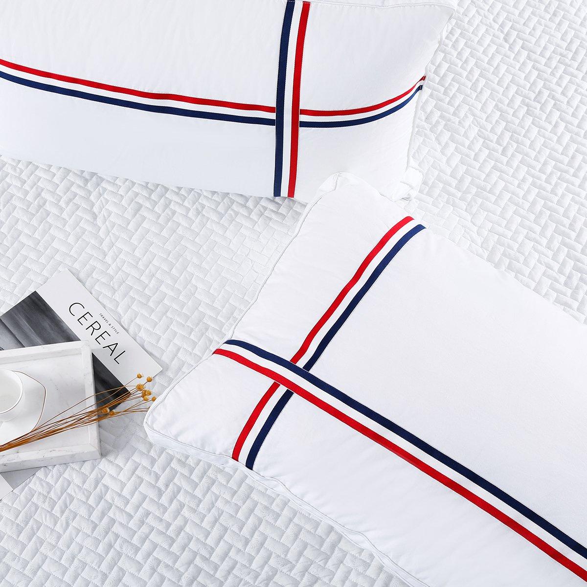 Ramada全棉条纹立体纤维枕羽丝绒枕头芯单个装床上用品全棉枕芯枕头COLOR白色