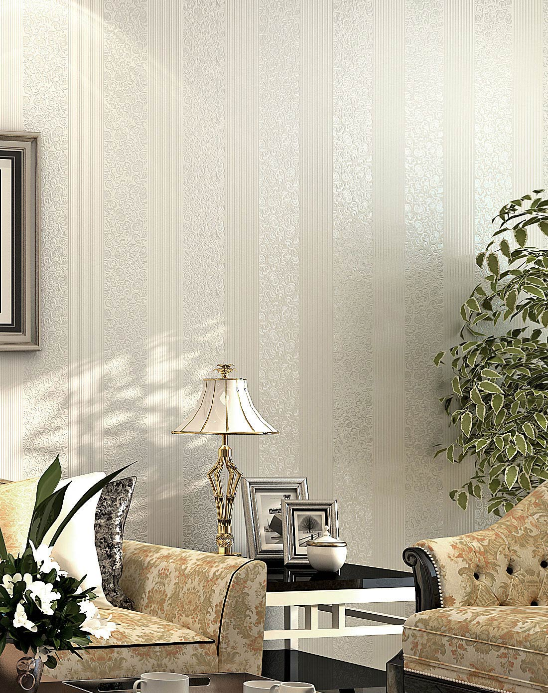纸尚美学墙纸专场白色欧式简约竖条纹客厅卧室无妨布