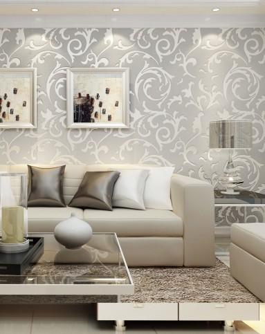 浅灰色欧式百搭卧室植绒无纺布壁纸