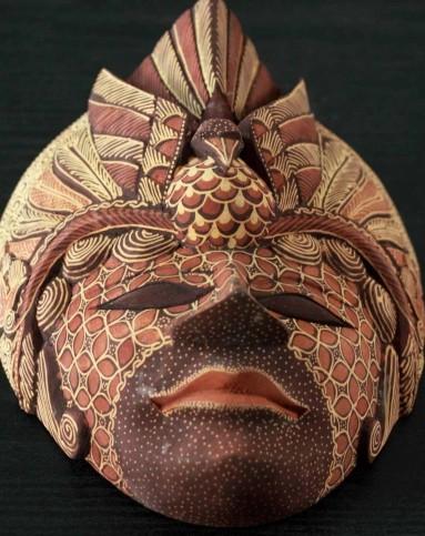 巴厘岛木雕木彩绘面具脸谱壁饰挂饰