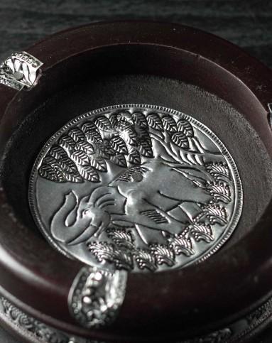 泰国进口特色风格木雕大象烟灰缸