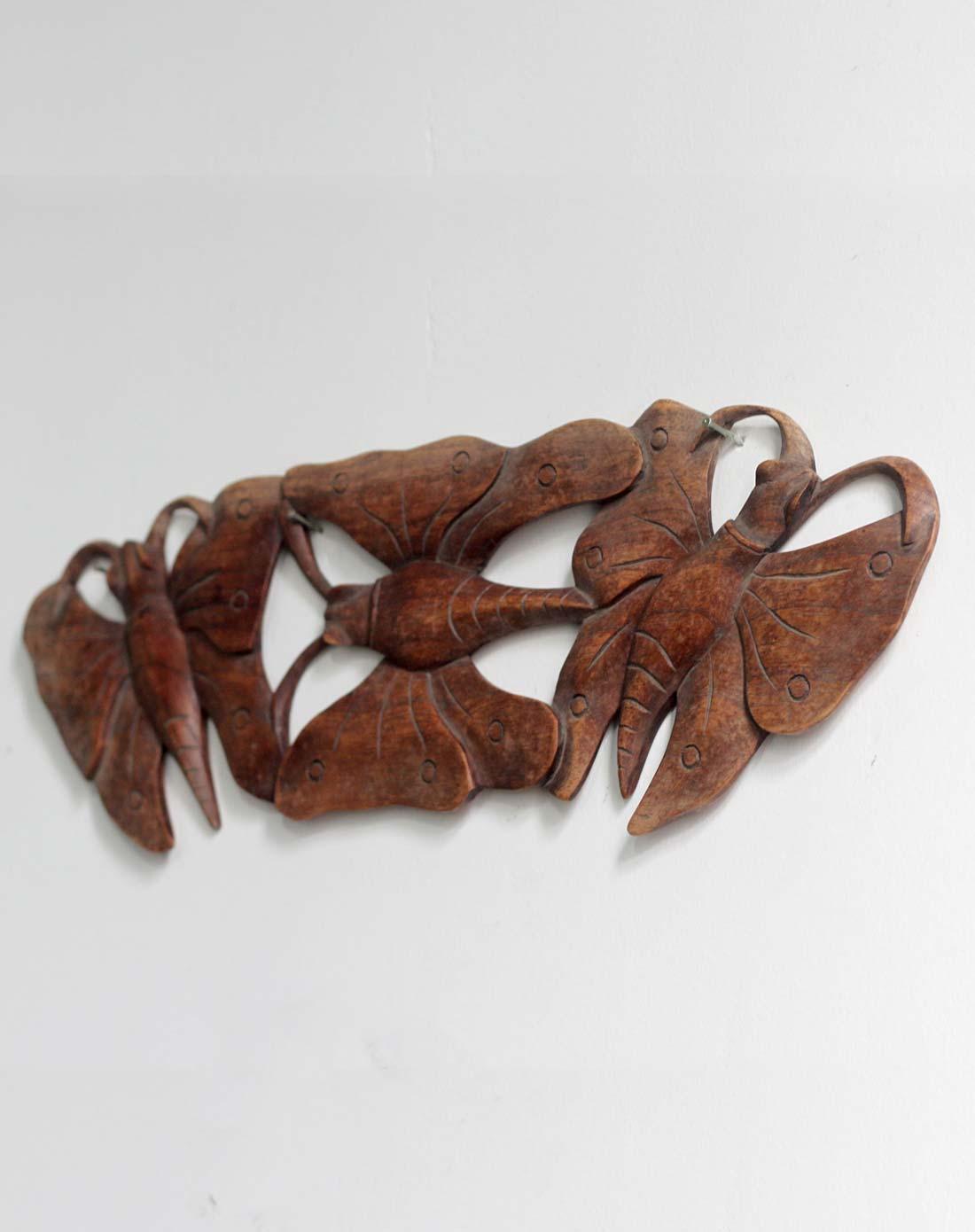 印尼进口家居木雕墙饰 蝴蝶壁挂