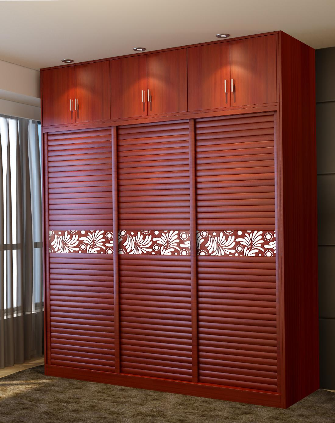> 趟门衣柜整体移门衣柜推拉门实木衣柜2.4米长 富士红色