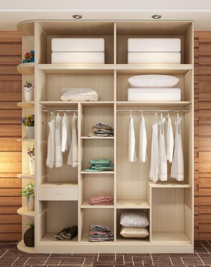 趟门衣柜整体移门衣柜推拉门实木衣柜2.1米长全套白樱桃色