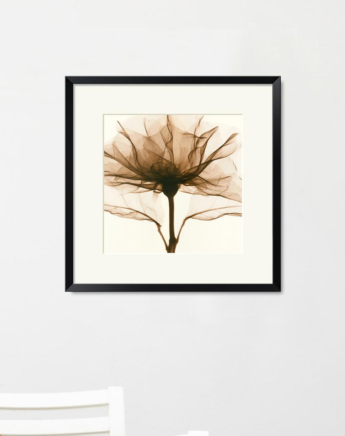 64*64cm黑框玫瑰现代简约客厅装饰画