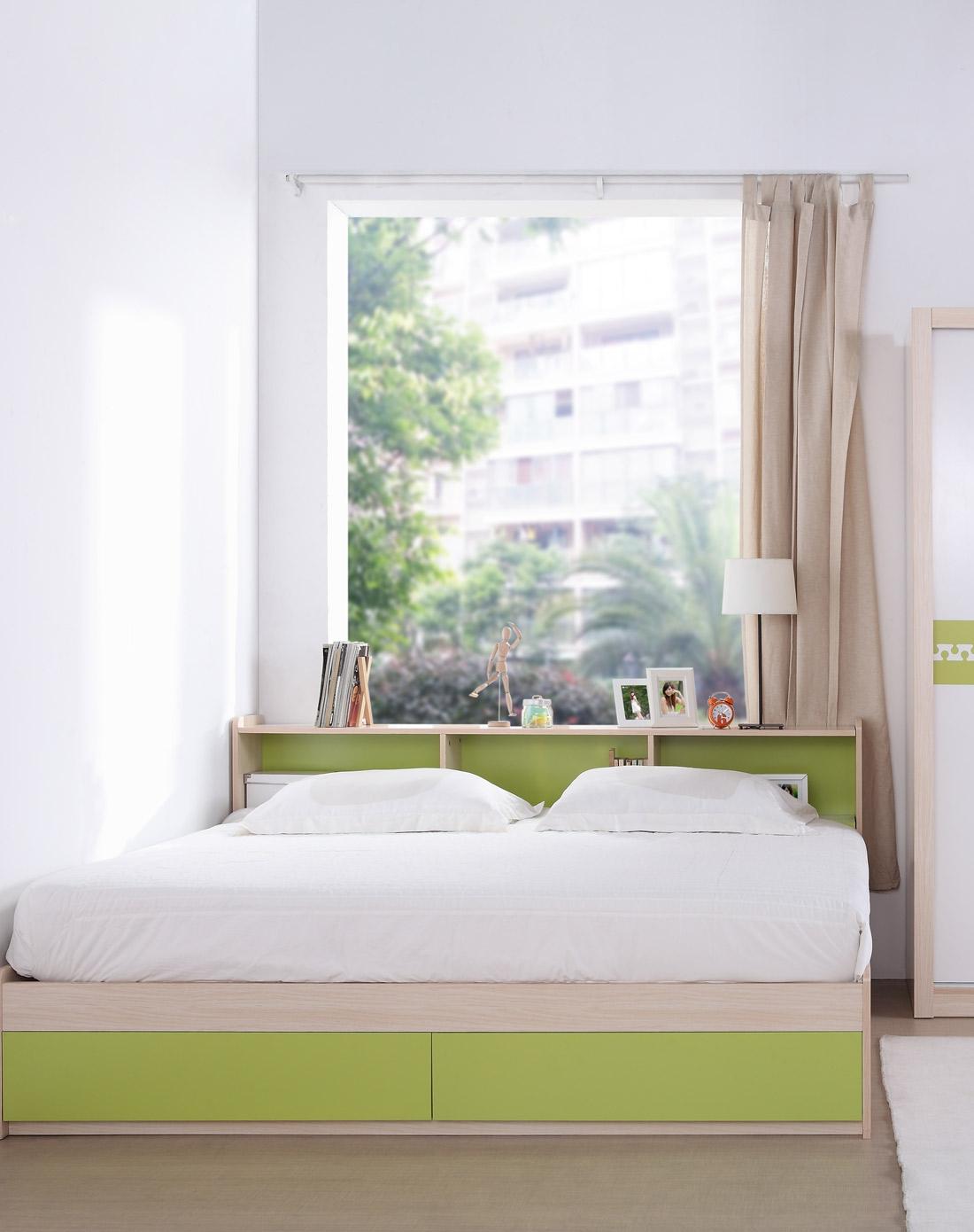 恩嘉依 榻榻米床 带床头 绿色 1米8*2米