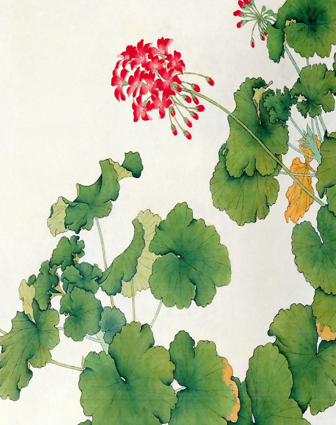 清新花卉画芯装饰画 绿叶红花