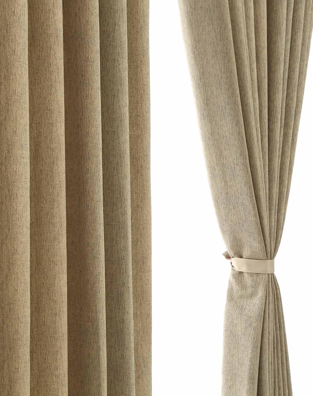 仿麻布深绿色客厅半遮光布艺窗帘 6*2.65
