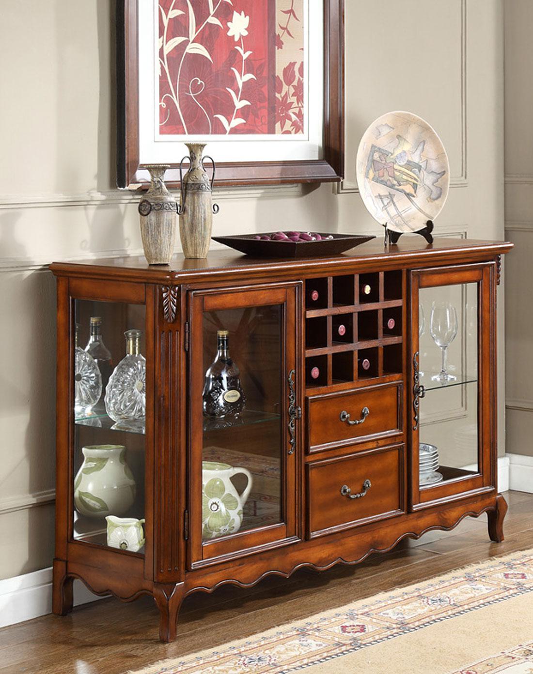 美式实木雕花餐边柜