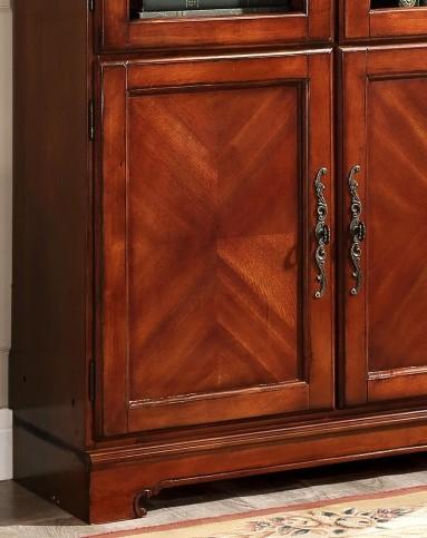 美式简约实木雕花书柜