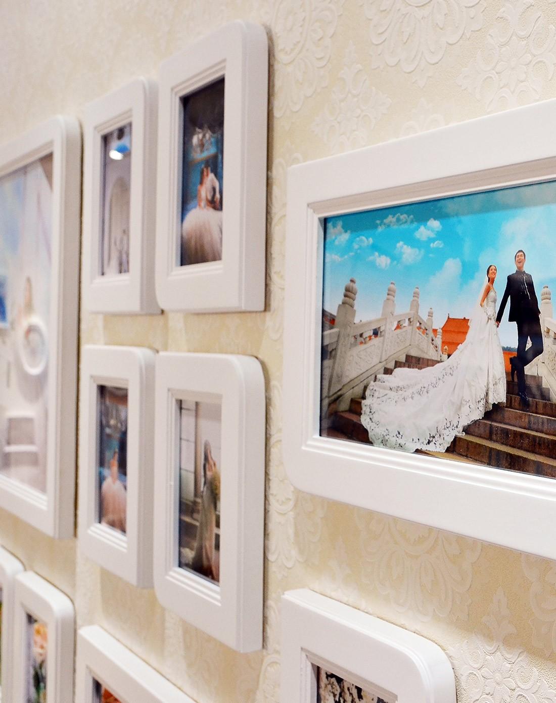 12框欧式对角相框照片墙白色组合