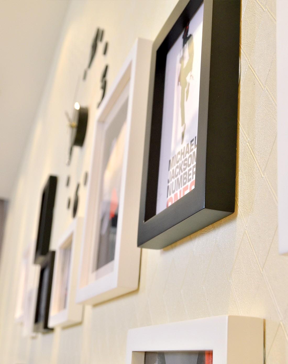 15框时尚钟表 照片墙黑白组合