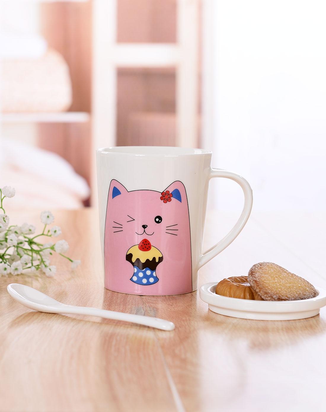 粉色蛋糕猫插办杯