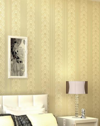 米黄色欧式简约卧室客厅无纺布墙纸图片